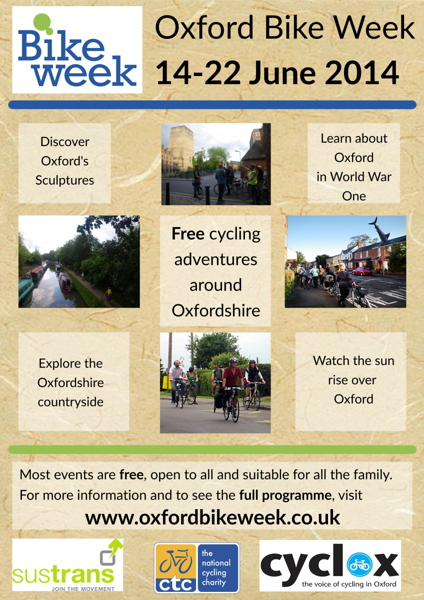 Poster with details of the 2014 Bike Week rides and events